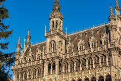 Striking Gothic Revival facade and roof of the Museum of the City of Brussels. The building also known as the Maison du Roi `King`s House` or Broodhuis `Bread royalty free stock image