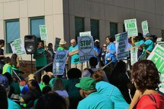 Striking hospital workers at UCLA. Asking for a living wage royalty free stock photography