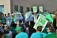 Striking hospital workers at UCLA. Asking for a living wage royalty free stock images