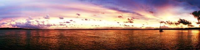 Magnificent bright cloud coastal sunrise Panorama. Australia. stock images