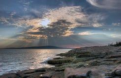 Striking Maine coastline. Maine coastline in Acadia National Park near sunset Stock Photography