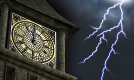Striking Midnight. Clock face on a clock tower with the hands near midnight while lightning bolts streak through the sky in the background Royalty Free Stock Image