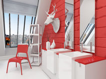Striking red and white bathroom interior Royalty Free Stock Image