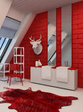 Striking red and white bathroom interior Stock Photography