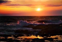 Striking sunset above the sea Stock Photo