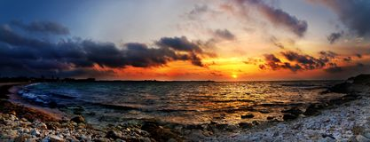 Striking sunset above the sea Stock Photography