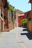 Strikingly colored houses in Roussillon, France Royalty Free Stock Image