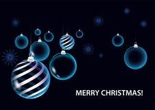Strikt mörkt - blåa bollar för julvektorkort stock illustrationer