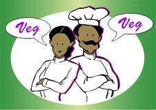 Strikt vegetarian- eller vegetarian kock stock illustrationer