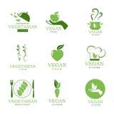 Strikt vegetarian- och vegetariansymboler stock illustrationer