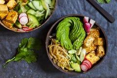 Strikt vegetarianbunke med avokadot och den silkeslena tofuen Royaltyfri Foto