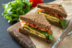 Strikt vegetariansmörgås med sallad och ost royaltyfri fotografi
