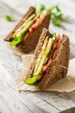 Strikt vegetariansmörgås med sallad och ost fotografering för bildbyråer