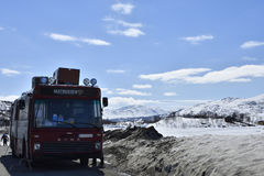 Strimasund,Sweden - May 13, 2017: Buss with food at the Swedish. Strimasund,Sweden - May 13, 2017: This is a buss with food standing at the Swedish Norway border Royalty Free Stock Photo