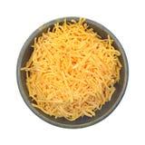 Strimlad maträtt för cheddarost royaltyfri fotografi