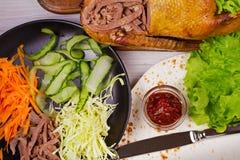 Strimlat and, morot, kål, gurka, sallad, tomatsås och lägenhetbröd Ingredienser för rullar, sjalar, burritos Sikt från Ab Royaltyfria Foton