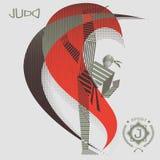 Strimmig judoidrottsman nen i handling royaltyfri illustrationer