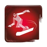 Strimmig Snowboardingsymbol stock illustrationer
