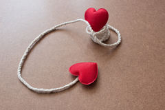 String Attached With Red Heart Shape Royalty Free Stock Photos