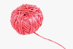 String ball pink. Pink string wound up in a ball Stock Photos