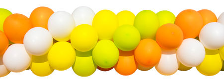 A string of balloons. Garland of bright, colorful balloons on a white background Stock Photo