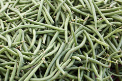 String Beans. Pile of string beans at the farmers market for sale Royalty Free Stock Image