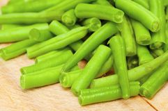 String beans. On the wooden board Royalty Free Stock Photography