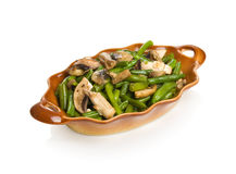 String beans with champignons Stock Photo