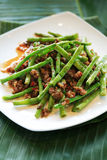 String beans cuisine. Asian style stir-fried string beans ala carte Stock Images