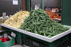 String beans on the vegetable market. Royalty Free Stock Image