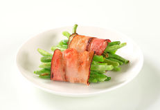 String beans wrapped in bacon Royalty Free Stock Photo