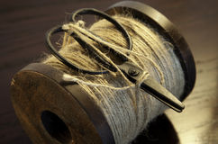 String bobbin with scissors Royalty Free Stock Images