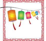 String of bright hanging Chinese lanterns decorati Royalty Free Stock Photography