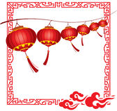 String of bright hanging Red Chinese lanterns deco Royalty Free Stock Images