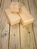 String and brown paper parcels Stock Images