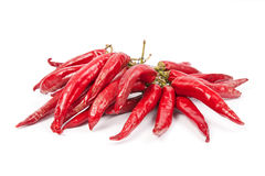A string with a bunch of red chili peppers. Isolated on white background Stock Image