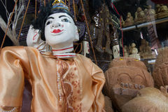 String Burmese puppet, Myanmar tradition dolls in Myanmar souvenir shop. Stock Photos