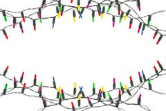 String of Christmas lights decoration isolated on white background royalty free stock image