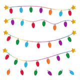 String Of Christmas Lights On White Background Stock Image
