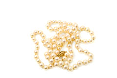 String of cultured saltwater pearls. Isolated on a white background Stock Photography