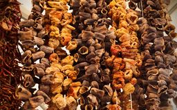 String of dried mushrooms, paprika and other vegetables for cooking stock image