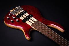5 string electric bass guitar stock image