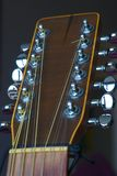 12-string electro-acoustic guitar, head and mechanical stock image