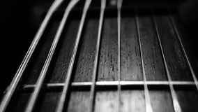 8 string fret board. Custom build 8 string guitar showing the rosewood fret board close up Stock Image