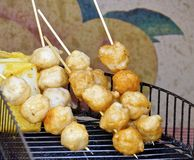 The string of fried fish balls Stock Photography