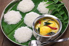 String hoppers with egg curry, south indian cuisine Stock Photos