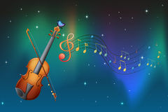 A string instrument with a butterfly and musical notes Stock Photography