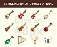 String instrument icon set. Flat icons base on 48 pixel with pixel perfect royalty free illustration