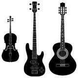 String Instruments. Layered vector illustration of collected String Instruments Silhouette Royalty Free Stock Image