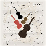 String instruments shape and musical sheet Royalty Free Stock Images